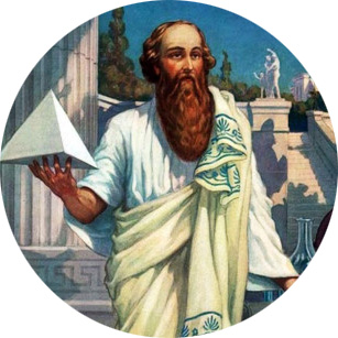 painting of Pythagoras holding a small pyramid in Greece